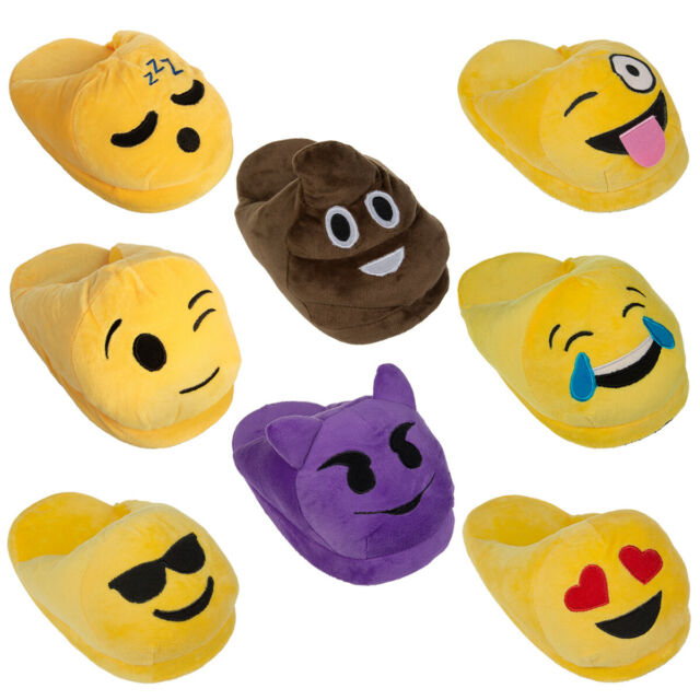 Emoji Purple Smiling Demon Slippers Girls Med 13-1