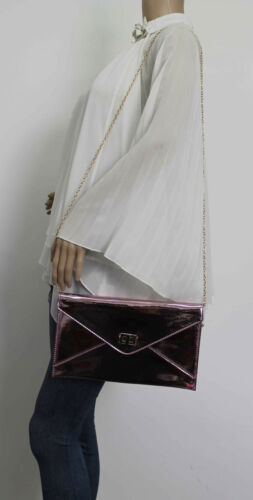 Womens Envelope Metallic Faux Lethr Rose Gold Silver Ladies Party Prom Smart Bag