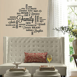 Bon CœUr Famille De Guillemets Wall Decals Noir Lettre Chambre Décor Stickers Loving Words Home Neuf-afficher Le Titre D'origine Et D'Avoir Une Longue Vie.