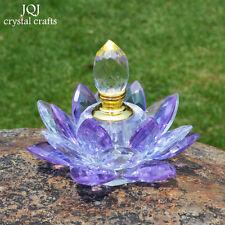 100mm Purple Quartz Crystal Glass Lotus Flower Perfume Bottle With Gift Box