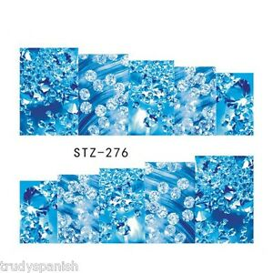 Nail-Art-Water-Decals-Stickers-Wraps-Blue-Water-Bubbles-Gel-Polish-S276