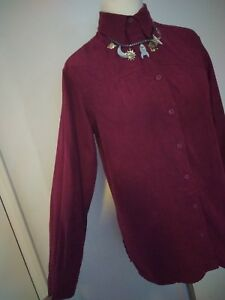 Berry-Plum-Button-Down-thin-Faux-Suede-Shirt-Medium-Autumn-Spring-any-occasion
