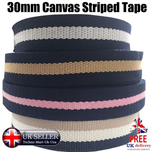 30mm CANVAS TAPE STRIPED BUNTING WEBBING DECORATION HANDLES TRIM EDGE BELTS