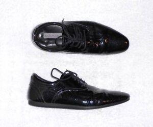 Détails sur SCHMOOVE chaussures basses à lacets cuir cuir verni pailleté noir P 41 TBE