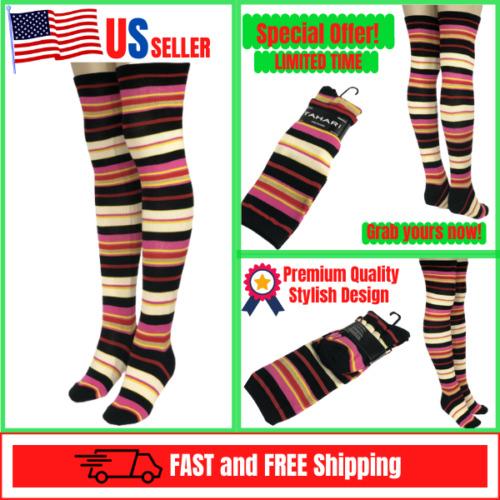 Womens Over the Knee High Colorful Stripe Rainbow Fashion  Tahari Socks 9-11 NWT