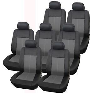 Premium-Leather-Look-Milan-Black-amp-Grey-Car-MPV-Seat-Cover-Set-14-Piece