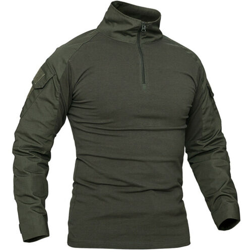 Men Camo Military T-shirt Tactical Long Sleeve Army Combat Shirt Moisture Blouse