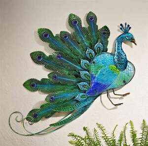 20 9 blue green peacock indoor outdoor metal glass wall decor wall piece - Outdoor peacock decorations ...