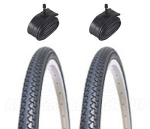 2-Bicycle-Tyres-Bike-Tires-City-Town-26-x-1-3-8-With-Schrader-Tubes