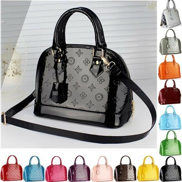 Pattern Print Lock Seashell Patent Leather Style Totes Handbags Shoulder Bags PU