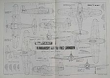 KAWANISHI N1K1 & N1K2 SHINDEN WARPAINT 1.72 Scale Drawings Aviation News 1987