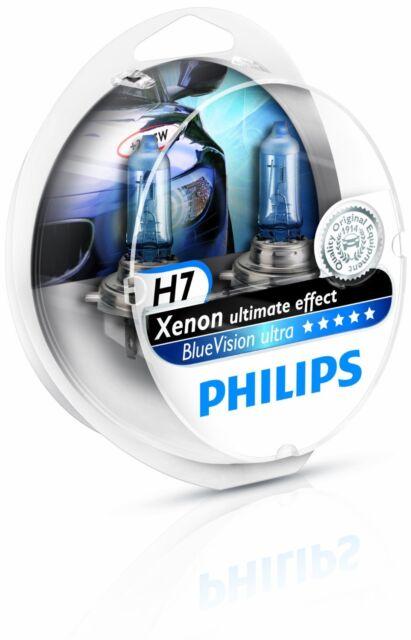 2 x Bombillas Philips BlueVision Ultra H7 + 2 W5W Regalo Faros Coche Blue Vision