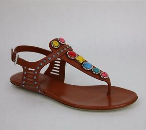 New Gucci Embroidered Leather Flat Sandal W Gems It 34 5