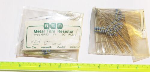 (100) RCD Comp 1/4W 1% Metal Film Resistors (.25 watt) GP55 10.5K thru 19.6K Ohm
