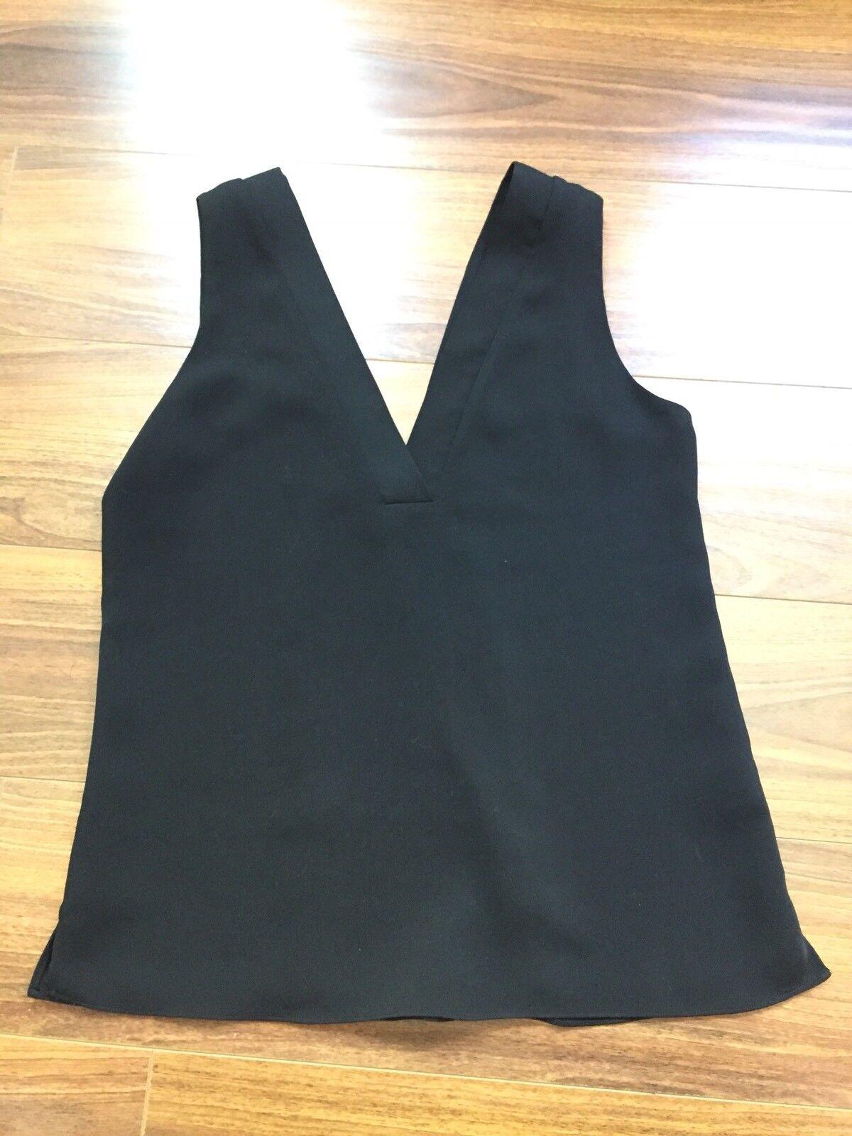 Cooper & Ella Sleeveless Solid schwarz V Neck Top Größe S