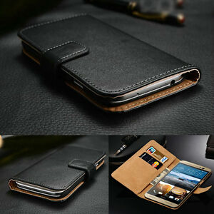 Luxury-Genuine-Real-Leather-Flip-Case-Wallet-Cover-For-HTC-One-amp-Desire-Models