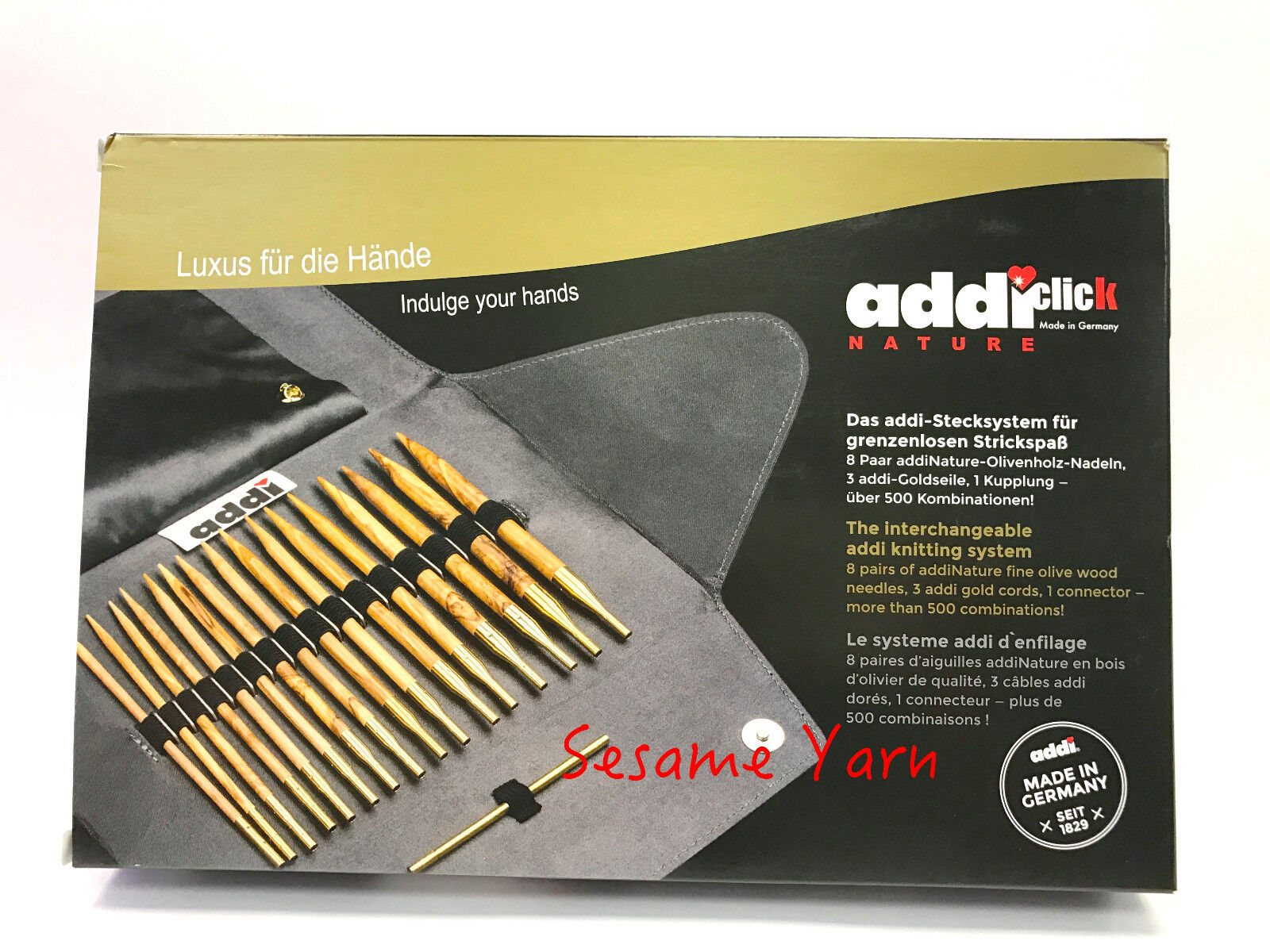 addi Click Nature Olive Wood GOLD Edition Interchangeable Knitting Needle set