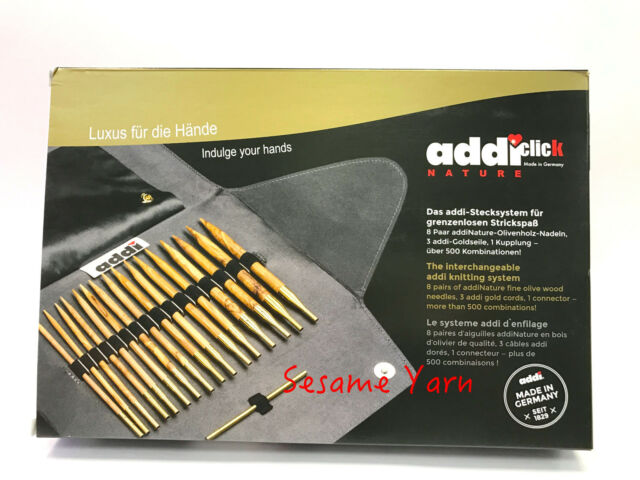 Addi Click Olive Wood Set Nature Needle Tips 8 Pair 3 Cable Lengths 570 7