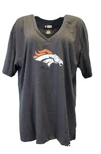 Denver-Broncos-NFL-Team-Apparel-Grey-Glitter-Logo-V-Neck-T-Women-039-s-Plus-Size