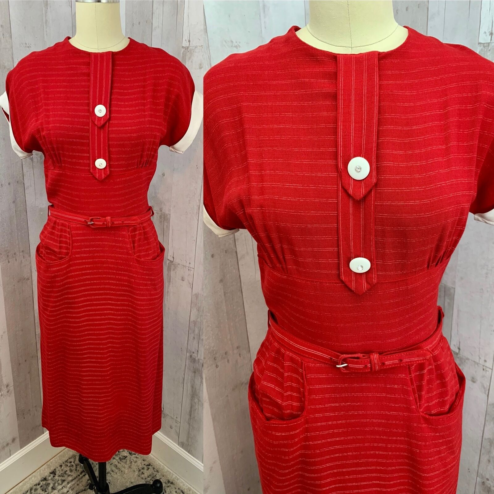 Vintage 1930-40s Wiggle Dress Sexy CherryRed Pinstripe Fitted Pinup Retro S/2