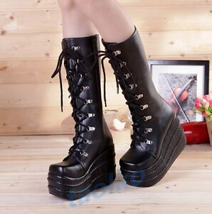 Gothic-Women-039-s-Knee-High-Boots-Lace-Up-Platform-Punk-Creeper-Casual-Cosplay-Shoe