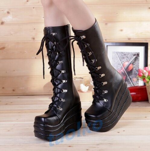 Gothic Women/'s Knee High Boots Lace Up Platform Punk Creeper Casual Cosplay Shoe