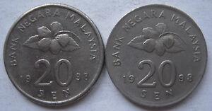 Second Series 20 sen coin 1998 2 pcs