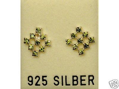 Gut Ausgebildete Neu 925 Silber Ohrstecker Mit Swarovski Steine Olivine/oliv-grün Ohrringe Duftendes Aroma