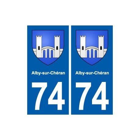 74 Alby-sur-Chéran blason autocollant plaque stickers ville arrondis