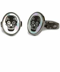 Men-039-s-Simon-Carter-Men-039-s-Mother-of-Pearl-Skull-Cufflinks-Black-One-Size