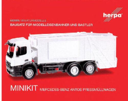 HERPA MiniKit 1:87//H0 Mercedes-Benz Antos Pressmüllwagen weiß Bausatz #012928
