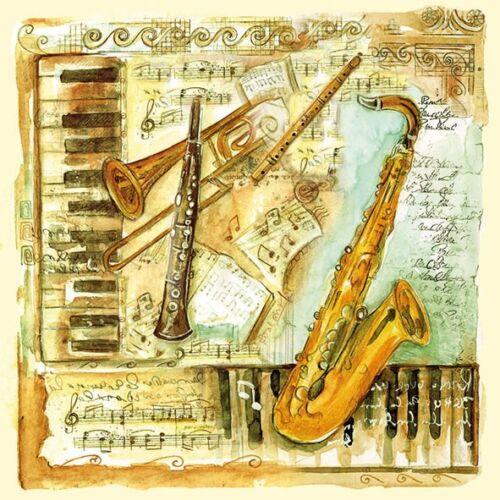 4 solo papel Servilletas Decoupage notas musicales instrumento -329 piano saxofón