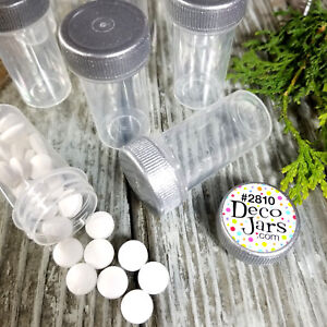 50 Tiny Tubes Vials Herbs Minerals Powder Container Silve Screw on Cap #2810 New