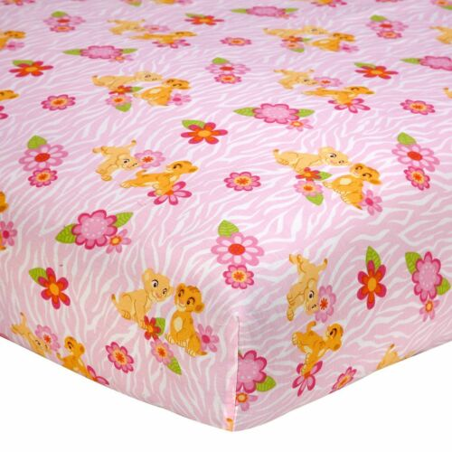 Disney Baby Lion King Nala/'s Jungle Fitted Crib or Toddler Sheet Pink Flowers