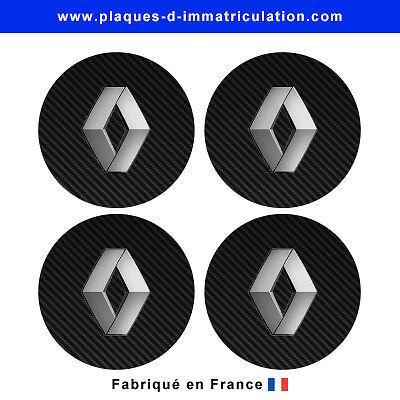 sticker Renault aspect carbone pour cache moyeu de jante lot de 4