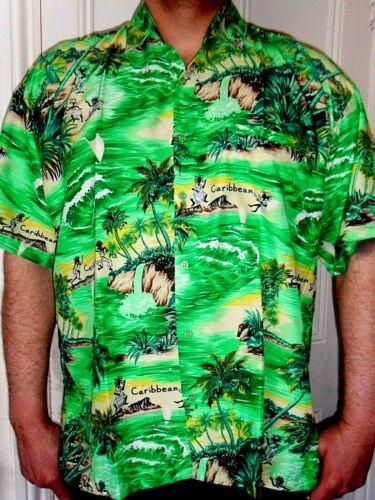Homme Vert Citron Fontaine Palmier Mexicain Noël Mariage Chemise Hawaïenne 2XL