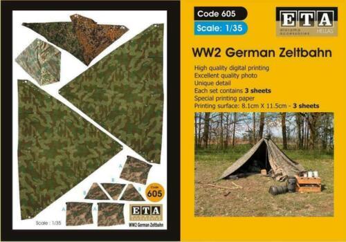 WW II ALLEMAND Zeltbahn Costume Scales 1//35