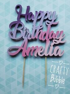 Personalised-wooden-Happy-Birthday-CAKE-TOPPER-any-colour-NOT-CARD