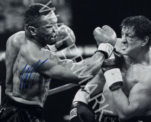 MIKE TYSON SIGNED 10X8 PHOTO LOOKS AWESOME FRAMED TYSON VS ROCKY BALBOA IMAGE