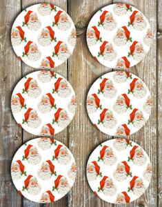 Santa-Drink-Coasters-Set-of-6-Non-Slip-Neoprene-Round-Coasters