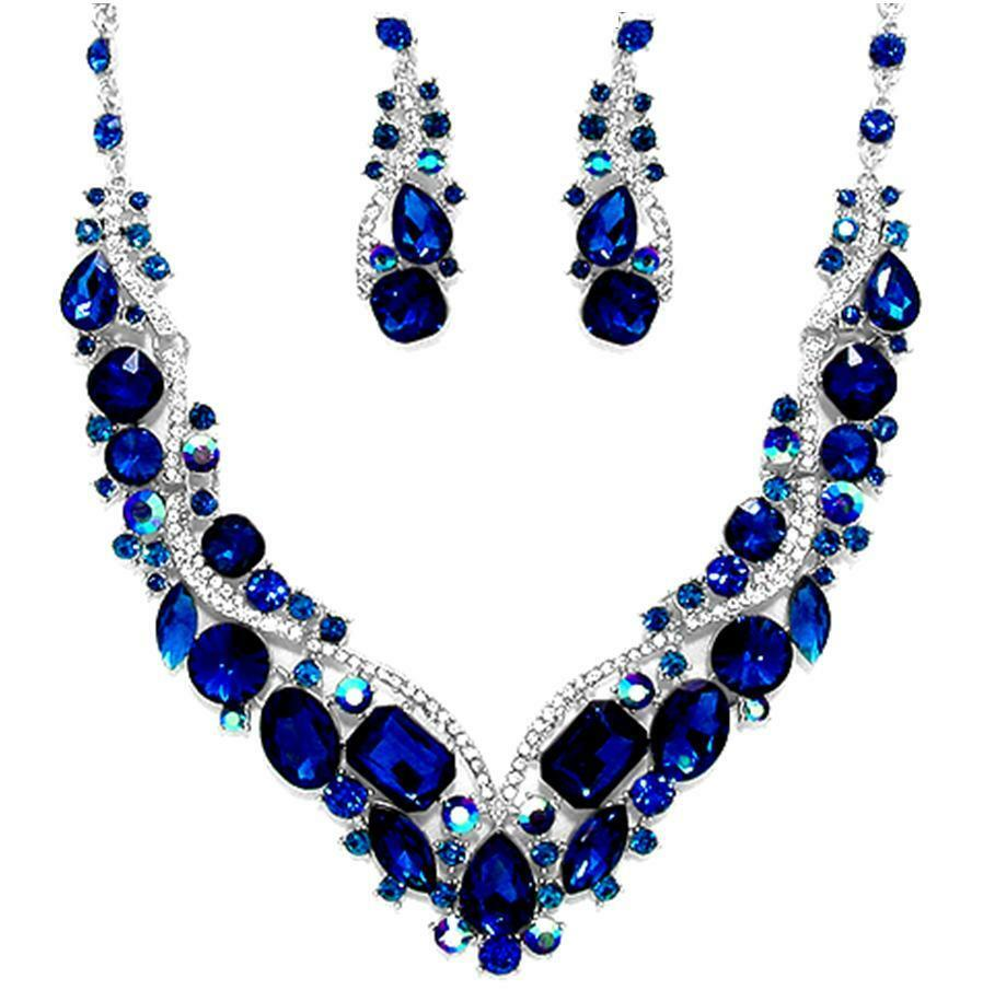 navy sapphire blue crystal necklace set elegant wedding