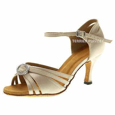 TPS Cream Satin Latin Ballroom Salsa Custom-made Dance Shoes D1064