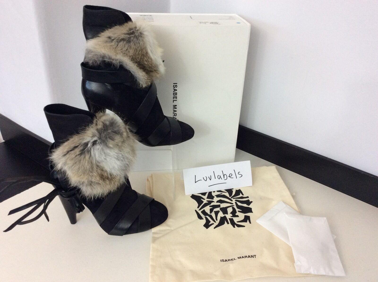 Isabel Marant RRP  Reino Unido 3 36 botas al Tobillo De Piel De Cuero Negro Nuevo en Caja Int. Inc.