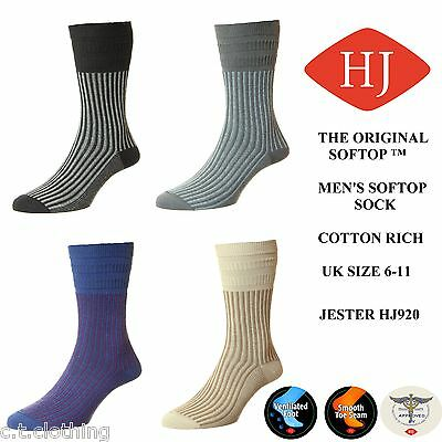 Mens HJ Hall Softop® HJ920 Jester Cotton Rich Non-Elastic Socks UK 6-11