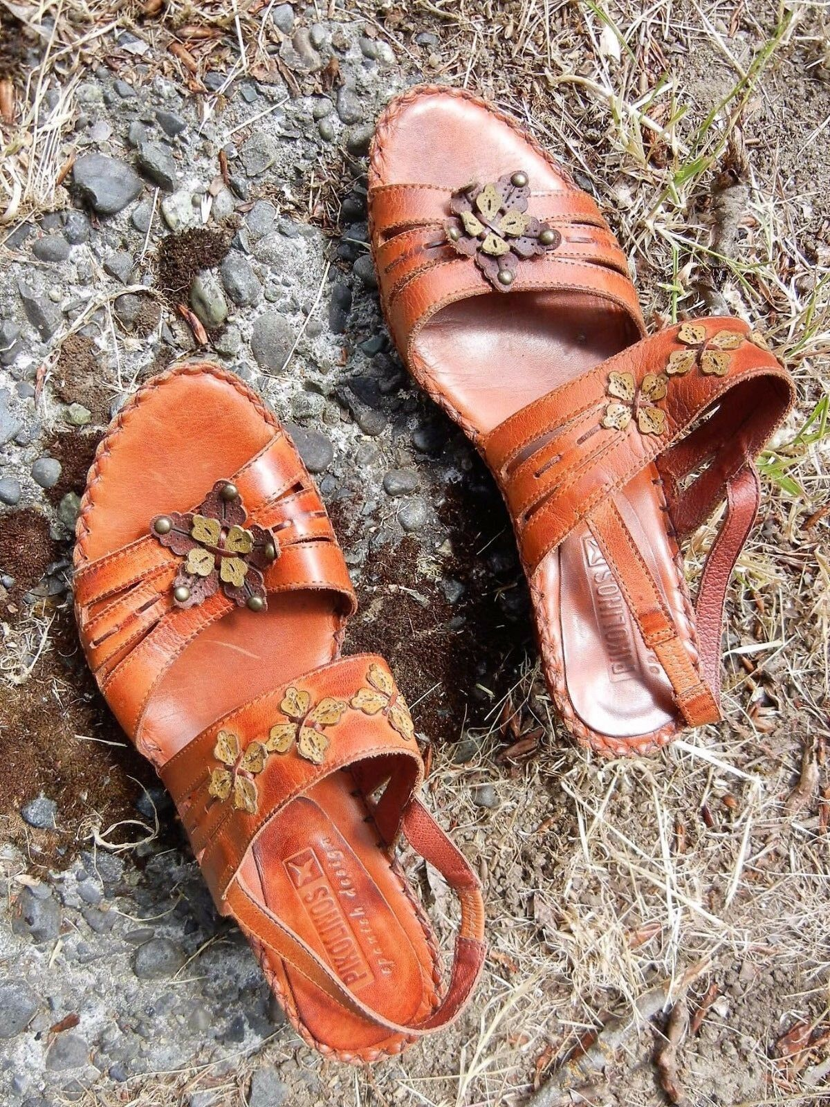 PIKOLINOS SANDALS BROWN 6 1/2 -7 USA BROWN SANDALS SPAIN SOFT LEATHER 2 1/2