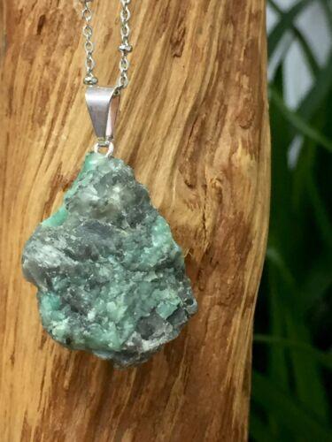 Rough Emerald Pendant Emerald Crystal Quartz Gemstone Specimen Reiki Chakra.
