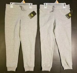 Sweat-Pants-2-PACK-Girls-XS-4-5-M-7-8-Grey-Fleece-Jogger-Athletic-Works-NWT