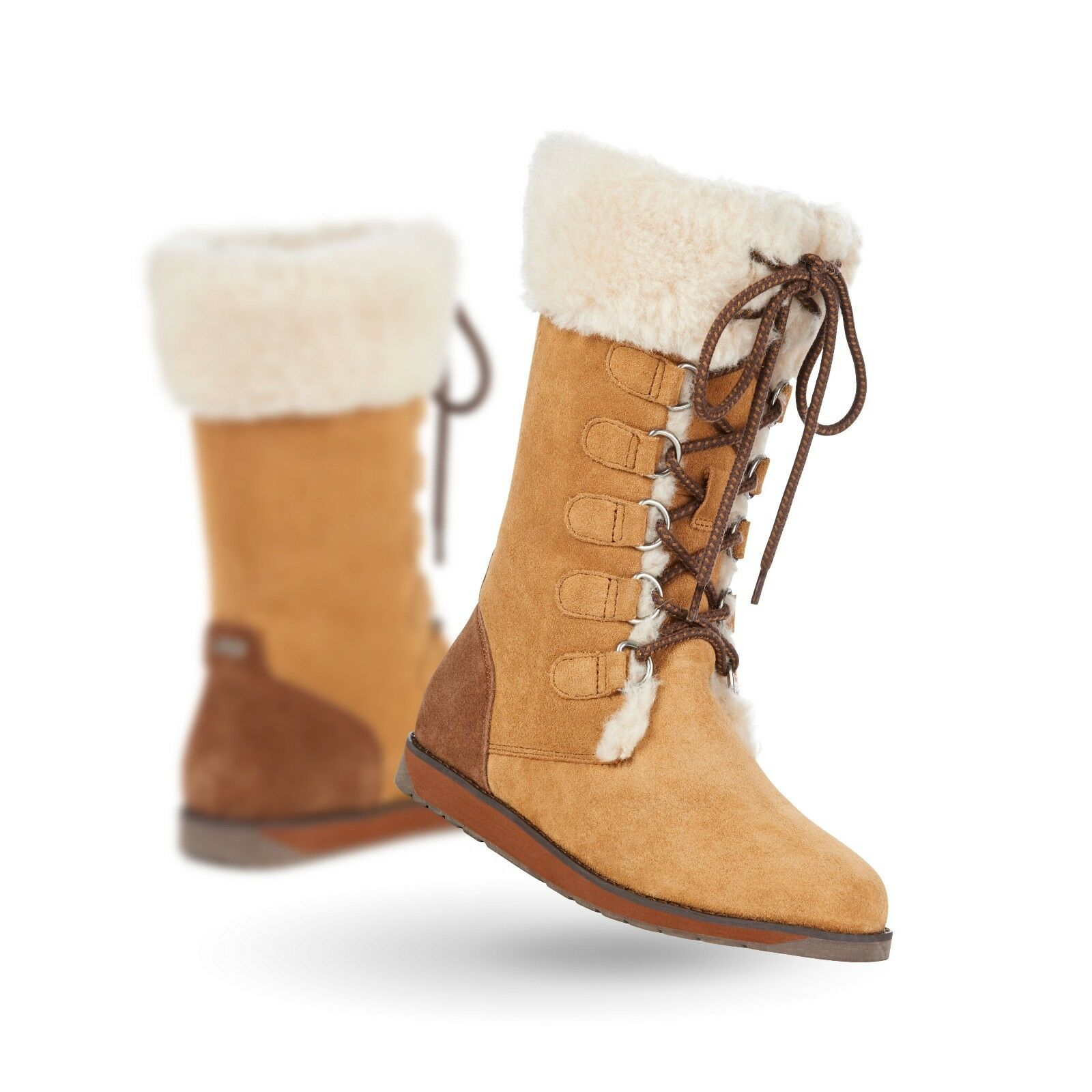 NEW EMU AUSTRALIA WOMENS FEATHERWOOD SUEDE & WOOL LACE UP BOOT CHESTNUT SIZE 6