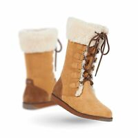 Emu Australia Womens Featherwood Suede & Wool Lace Up Boot Chestnut Size 6
