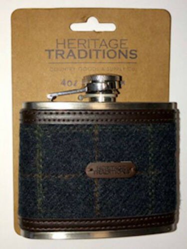 4oz SCOTTISH TWEED HIP FLASK  Traditional Stainless Steel HAND WOVEN FL-120